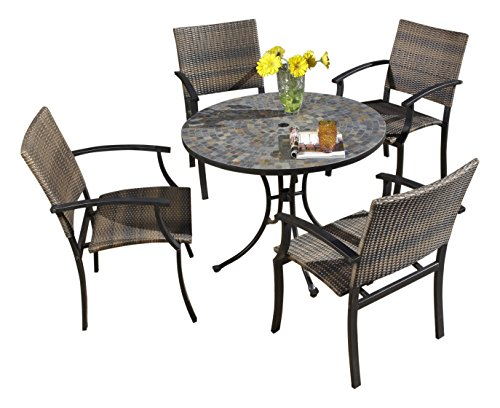 - Stone Harbor Black 5-Piece Outdoor Dining Set by Home Styles