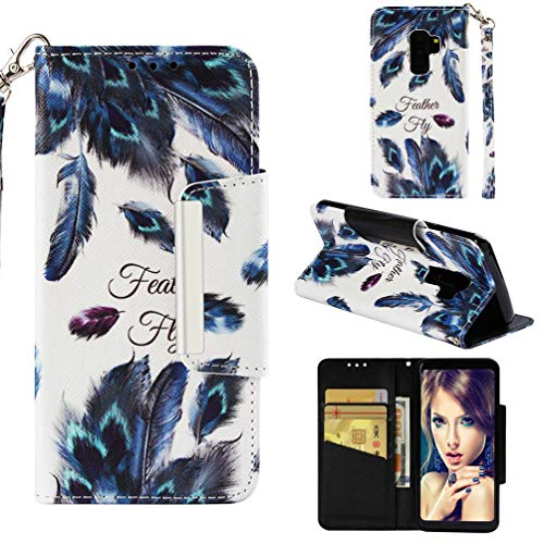 case-for-galaxy-s9s9-plus3d-printing-pu-leather-wallet-case-with-magnetic-closure-anti-scratch-inner-tpu-bumper-with-card-holder-wrist-strap-compatible-with-samsung-galaxy-s9s9-plus-feather