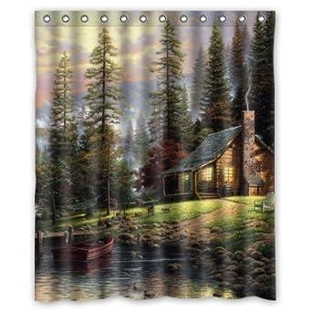 amazoncom thomas kinkade a quiet cozy home custom shower curtain 60x72 clothing