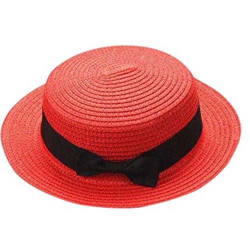 Children Girls Straw Bowler Derby Hat Round Flat Brim Boater Cap (Red)