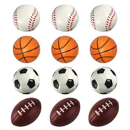 (ROOTLISA 12 Pack Foam Mini Sports Balls Stress Balls for Kids Party Favor Toy (Soccer Basketball Baseball Football Kit))