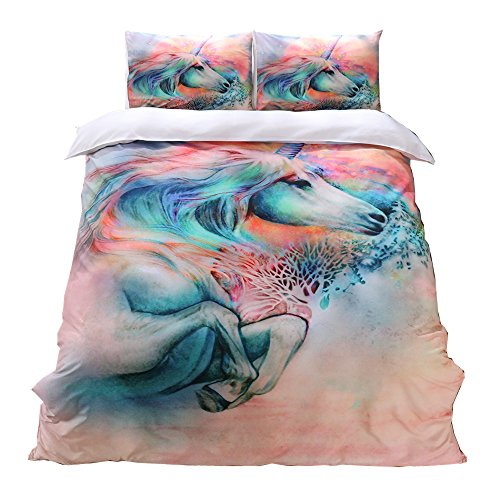 NTBED Unicorn Printed Duvet Cover Set (1 Duvet Cover +1 Pillow Case), Brushed Microfiber Bedding Sets Twin(No Comforter) (Set Twin Printed)