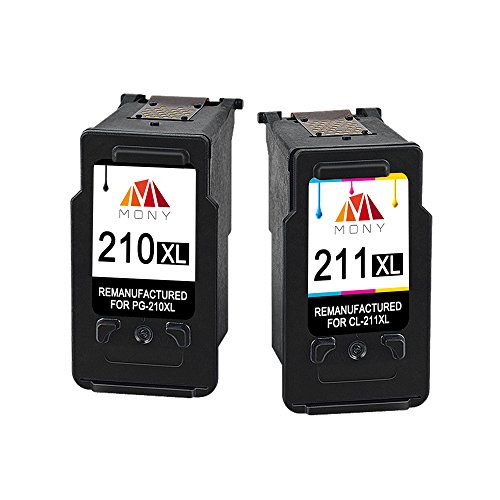 Mony Remanufactured Canon PG-210 CL-211 XL Ink Cartridges (Black & Tri-color, 2 Pack) Replacement for Canon Pixma MP495 MP480 MP250 MP280 IP2702 MX340 MX410 Printers - Large Tri Color Ink