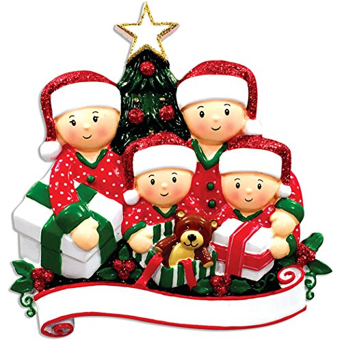 Personalized Opening Present Family of 4 Christmas Tree Ornament 2019 - Children in Pajamas unpack Tradition on Eve Morning Grandkids Cousins PJs Gift Year - Free Customization (Four)