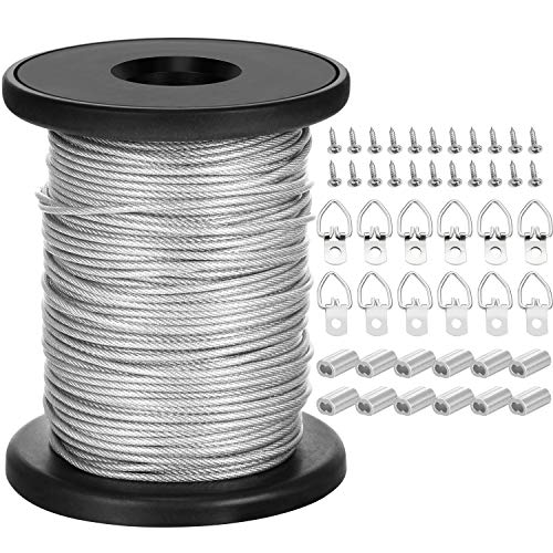Chengu Picture Hanging Wire with 20 Pieces D-Ring Picture Hangers with Screws, 20 Pieces Aluminum Crimping Loop Sleeves, 1.5 mm x 131 Feet Stainless Steel Wire Spool, Supports up to -