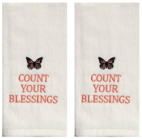 Count Your Blessings - Sonoma 2-Piece Embroidered Cotton Kitchen Bath Hand Towels, - Butterfly Embroidered Hand Towel