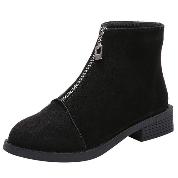 Mymyguoe Zapatos de Invierno Mujer,Mujeres Planas Botines Cortos con Cremallera de Cuero Black Friday Botas Zapatos Tacon bajo Fondo Plano Botas: Amazon.es: ...
