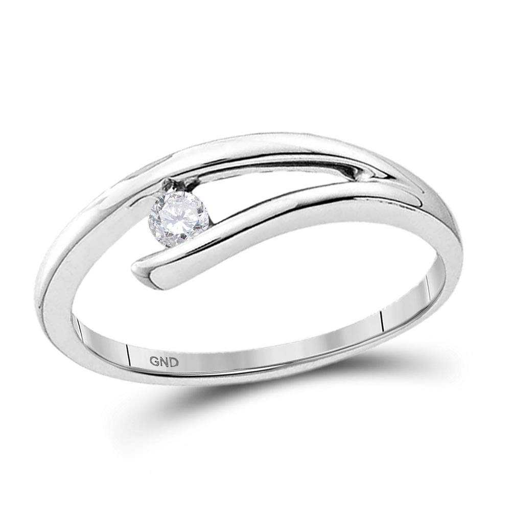 Jewels By Lux 10kt White Gold Womens Round Diamond Solitaire Promise Bridal Ring 1/10 Cttw In Channel Setting (I2-I3 clarity; H-I color)