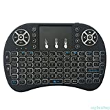 LONGYAO 2.4G Backlit Mini Wireless Keyboard with Touchpad and Multimedia Keys for Android TV Box HTPC PS3 XBOX 360 Smart Phone Tablet Mac Linux Windows, New Model Mini Keyboard Touchpad Mouse Combos