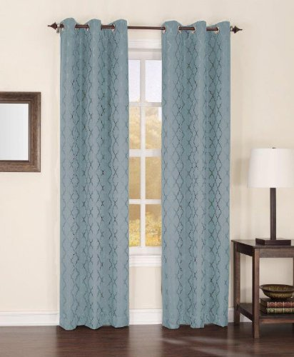 Easy Care Fabrics Thermal Grommet Top Trellis Embroidered Room Darkening Curtains, 40 by 95-Inch, Mineral, Set of 2 Review