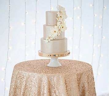 Delightful ShinyBeauty Sequin Tablecloth Champagne 60Inch Round Sparkle Tablecloth,Glitter  Table Cloth,Sequin