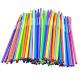 SHZONS 100pcs/Pack Assorted Multicolor Extra Long Flexible Drinking Straws,BPA Free Plastic Drinking Straws