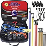 BISON GEAR 28PC Premium Bungee Cord Assortment Including Ball Bungees and Tarp Clips - 28 Piece Heavy Duty Tie Down Pack - UV Resistant Industrial Grade Shock Cord - GS Certified Bungee Straps