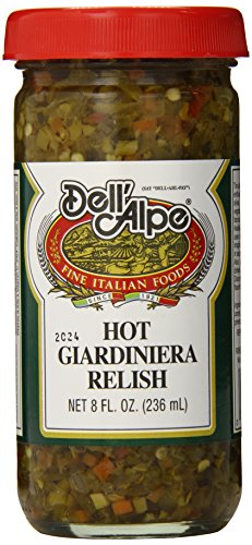 Dell' Alpe Hot Giardiniera Relish 8.0 OZ (Pack of 3) (Giardiniera Relish)