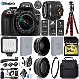 Nikon D3400 DSLR 24.2MP DX CMOS Camera AF-P 18-55mm VR Lens + LED Light kit + UV Protection Lens Filter + 12 inch Flexible Tripod + Camera Case - International Version