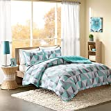 Intelligent Design Ellie Comforter Set Full/Queen Size - Aqua, Grey, Geometric Triangle – 3 Piece Bed Sets – Ultra Soft Microfiber Teen Bedding for Girls Bedroom