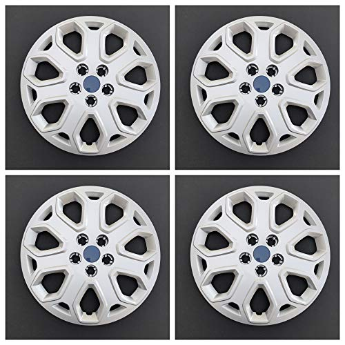 MARROW New Wheel Covers Hubcaps Replacements Fits 2012-2014 Ford Focus; 16 Inch; 7 Y Spoke; Silver Color; Plastic; Set of 4; Push On