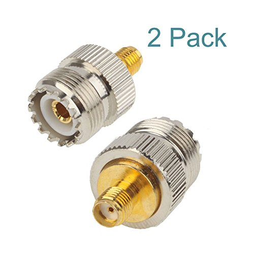 Maxmoral UHF Female to SMA Female Plug RF Coaxial Adapter Connector 2PCS
