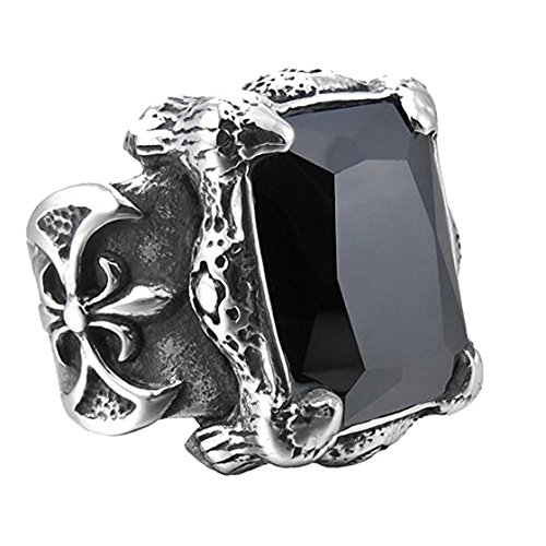 Sirius Men's Large Stainless Steel Glass Ring Silver Black Dragon Claw Knight Fleur De Lis Vintage Gothic Size 9