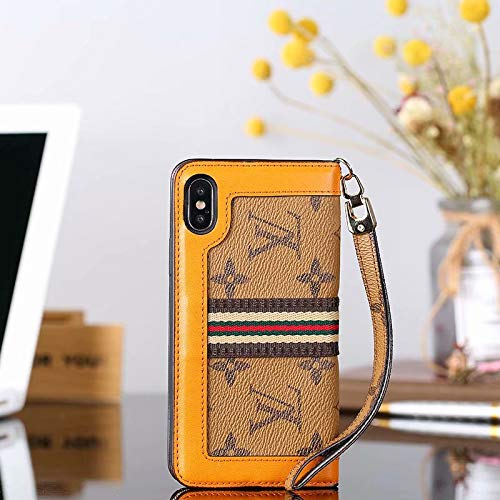 (Phone case for iPhoneXs X Wallet Case, Multi-Function Luxury Elegant Leather Detachable Case Hand Strap Closure Flip Case with Box Package Case for iPhoneXs, iPhoneX- Yellow)