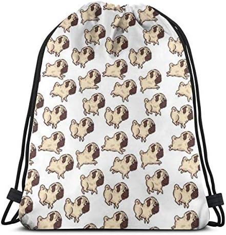 かわいいパグ犬ジムサックバッグドローストリングバックパックスポーツバッグメンズ&レディーススクールトラベルバックパック36 x 43cm