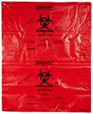 Bel-Art F13165-3138 Polypropylene 20-30 Gallon Super Strength Red Biohazard Disposal Bags with Warning Label/Sterilization Indicator, 31W x 38 in. H, 2.0mil Thick (Pack of 200)