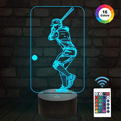 Baseball 3D Night Light, Baseball Sport Gifts Bedside Lamp for Xmas Holiday Birthday Gifts for Kids Baseball Fan with Remote Control 16 Colors Changing + 4 Changing Mode + Dim Function