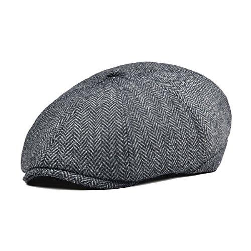 VOBOOM Mens Wool Blend Newsboy Cap 8 Pannel Hat Tweed Cap Herringbone Cabbie Flat Cap (Style4) -