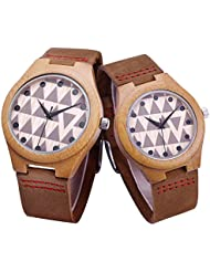 Couple Watches Lovers Coffee Bamboo Wooden Watches Couples Quartz Wood Watch for Lovers Pair Watches