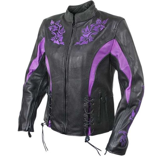 Amazon Com Xelement Xs2027 Womens Black Leather Embroidered Jacket