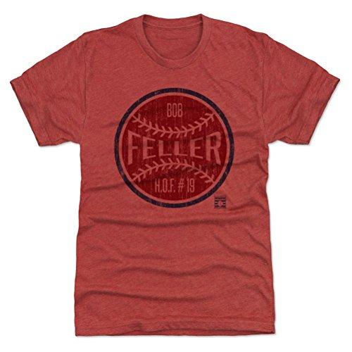 500 LEVEL Bob Feller Triblend Shirt Large Tri Red - Vintage Cleveland Baseball Men's Apparel - Bob Feller Ball (Bob Feller Merchandise)