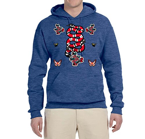 Red and White Kingsnake Bees and Butterfly Mosaic | Unisex Fashion Hooded Sweatshirt Graphic Hoodie, Vintage Heather Navy, 2XL (Butterfly Graphic Hoodie)