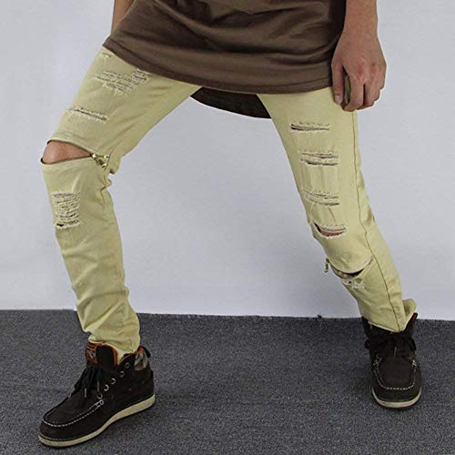 Jeans Pantaloni A Slim Con Chiusura Chern E Strappati Denim Zip Huixin In Casual Fit Uomo Skinny Buchi Khaki Gamba Da Dritta dxwY7Cn4q