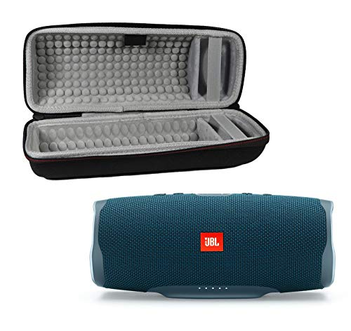 Waterproof Speaker Case - JBL Charge 4 Waterproof Wireless Bluetooth Speaker Bundle with Portable Hard Case - Blue