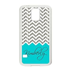 Personalized Light Blue White Grey Chevron Pattern(NOT ACTUAL GLITTER) Unique Custom Samsung Galaxy S5 Best Durable PVC Cover Case Custom Color and Text,New Fashion, Best Gift by runtopwell