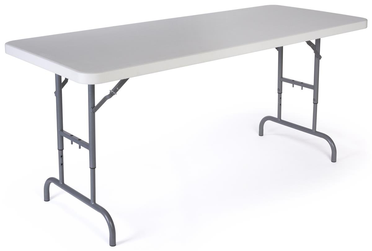 Displays2go Adjustable Height Folding Table, 6-Feet, White