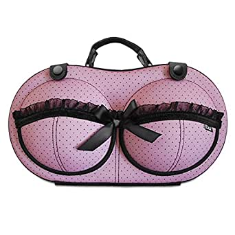 Travel Bra Organizer Lingerie Bag - For Bra Sizes 30A - 36C - Womens Underwear Organizer Pouch To Organize, Store & Protect Your Bras While Travelling - Made of Semi-Rigid EVA Foam - Katie Pink