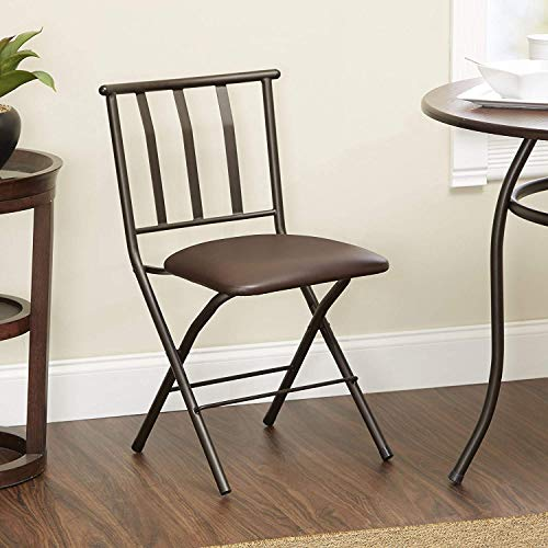 Mainstays Slat-Back Folding Chair with Tan Microsuede Cushion, Bronze Finish