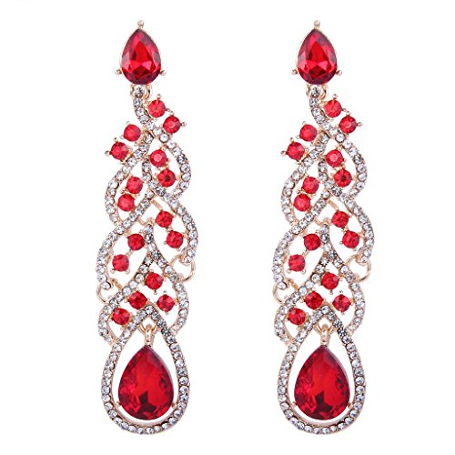 BriLove Women's Fashion Dangle Earrings with Vintage Inspired Crystal Teardrop Hollow Floral Leaf Cluster Ruby Color Gold-Tone