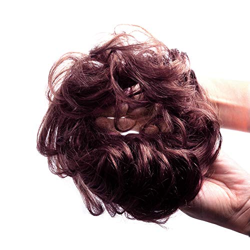 Bella Hair 100% Human Hair Scrunchies Messy Bun Hair Pieces for Women Wavy Curly Up-Do Chignon Extensions (#99J Red Wine/#118 Burgundy)