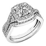 2.55 Carat (Ctw) 10K White Gold Round Cubic Zirconia Ladies Engagement Ring Set 2 1/2 CT (Size 6)