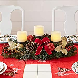 BrylaneHome Christmas Pre-Decorated Candle Holder Centerpiece