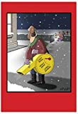 B2493XSG Box Set of 12 Box Of Snow Blower Settings Christmas Cards Funny Christmas Note Card; with Envelopes