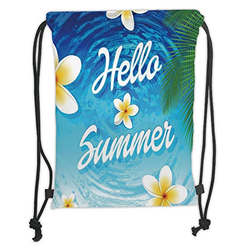 New Fashion Gym Drawstring Backpacks Bags,Lifestyle Decor,Hello Summer Quote with Palm Leaves Plumeria Flowers over the Ocean Illustration,Blue Soft Satin,Adjustable String Closur]()