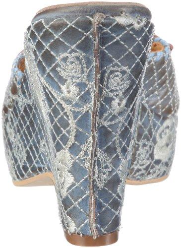 Time&Co - Sandalias de vestir de cuero para mujer Azul