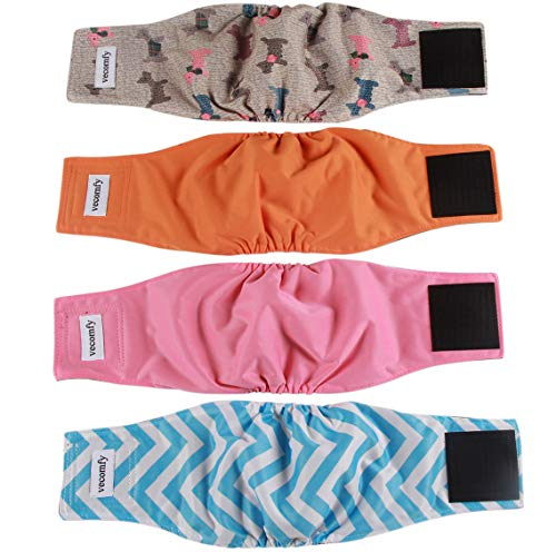 vecomfy Washable Belly Bands for Male Dogs 4 Pack,Premium Reusable Large Dog Wrap Leakproof Doggie Diapers,L
