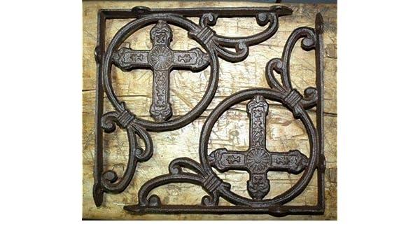 6 Cast Iron Antique Style HUGE CROSS Brackets Garden Braces Shelf Bracket HD