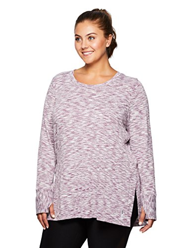 - RBX Active Plus Size Long Sleeve Scoop Sweater Knit Tunic Purple 1X