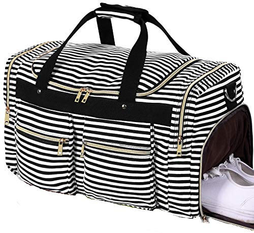 Weekender Overnight Duffel Bag Shoe Pocket for Women Men Weekend Travel Tote Carry On Bag (Stripe Black White 0.6cm)