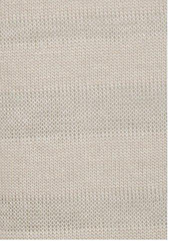 Mujer top de rayas de burn-out Luz Sheer tela tejida de manga larga camisa marrón claro